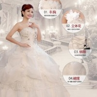 Monthly Bride Wedding Dress With Glass Diamond Design - White